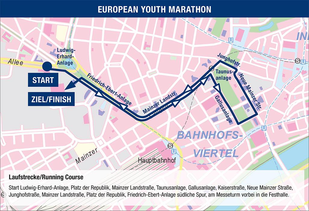 Die blauen Linien inklusive der Pfeile veranschaulichen die Route der 4,2km langen Marathon-Strecke - das Bild wurde eingebettet und befindet sich auf der Seite des Veranstalters