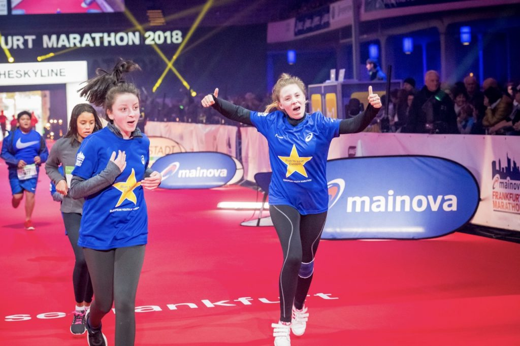 Ziel 1. European Youth Marathon Frankfurt 2018